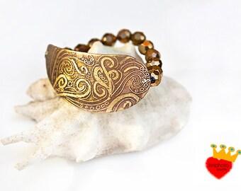 Waves -stretch bracelet,etched jewelry,patina jewelry,gemstones,wide bracelet,adjustable,boho jewelry,swirls,brown,unique,Greek jewelry