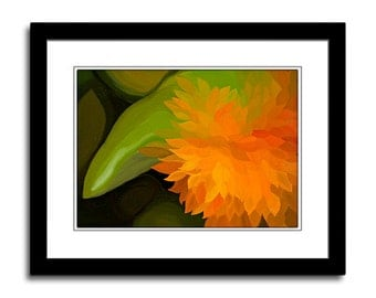 Orange Flower Photo Art Photo Painting Floral Wall Art Prints Painted Photograph Floral Art Canvas Print Home Decor Photo Greeting Cards