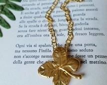 4 Leaf Clover Necklace, Real Lucky Plant, Yellow Gold, 24ct, Shamrock, Lucky, Irish, Bridesmaid Gift