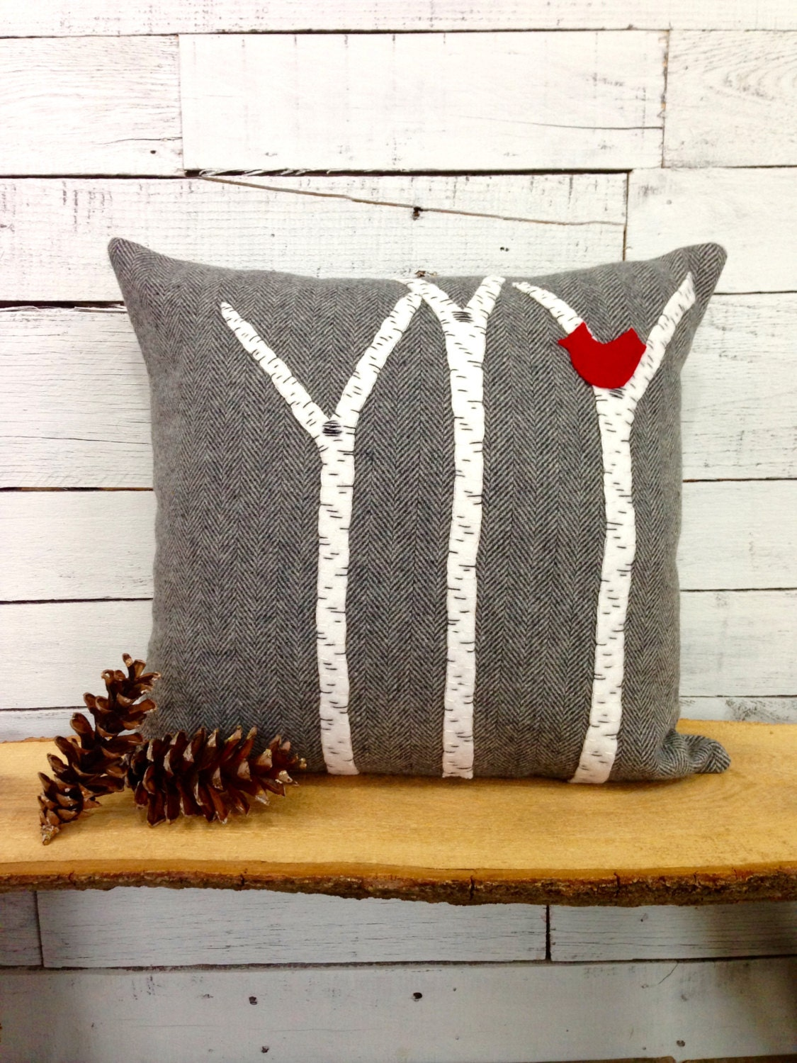 Birch tree decor rustic pillow rustic home decor rustic for Moose decorations home