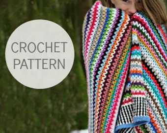 Crochet Blanket Pattern - Scrappy Happy V-stitch Blanket - US, UK and Swedish terms - PDF file