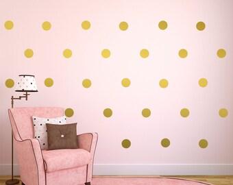 Gold Wall Decals, Gold Polka Dots Wall Decor, Gold Confetti Polka Dots, Polka Dot Wall Decals - Set of 110