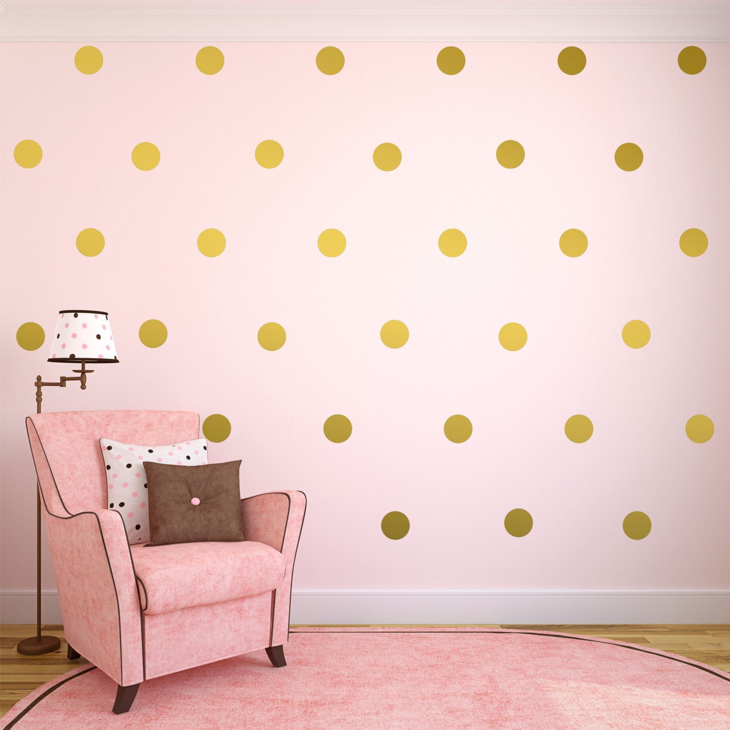 Gold wall decals gold polka dots wall decor gold confetti for Dots design apartment 8