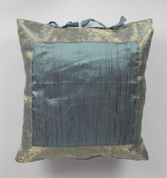 Light Blue Silk Throw Pillow : Authentic decorative pillow Two tone light Blue by ColorsbyPadmini