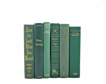 Pine Green Books, Book Stack, Decorative Books, Old Book Set Set, Instant Library, Vintage Book Collection, Home Decor, Interior Design