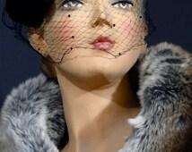 Vintage Hat 1950s Fascinator Veil / Black Felt Hat Base / Satin Bows Embellishment Low Pillbox Hat Women's Vintage Hats Accessories
