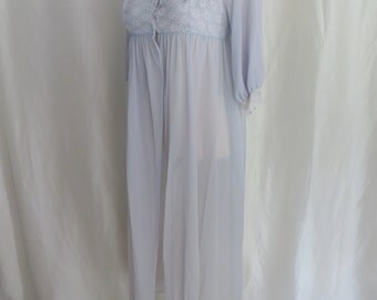 Vintage 70s womens lingerie, nylon robe, lace negligee robe, periwinkle blue, sheer pegnoir robe