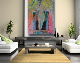 Abstract Painting People Art contemporary art abstract art expressionism large painting figurative art loft decor by Cheryl Wasilow