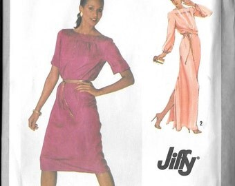Vintage 1970s Misses Womens Ladies Pullover Dress Long and Short Length Simplicity 9283 Sewing Pattern Size 12  Bust 34 Waist 26 1/2
