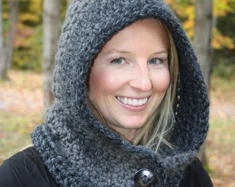 CROCHET PATTERN - Cozy Hooded Cowl Crochet Pattern - Crochet Scoodie Cowl Pattern