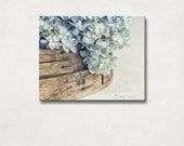 Canvas Art | Flower Photography, Country Farmhouse Decor, Wall Art, Rustic Neutral Decor, Blue & Brown