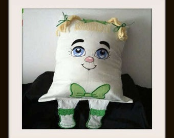 Pillow, Girl Face Pillow, Embroidered Pillow, Home Decor,