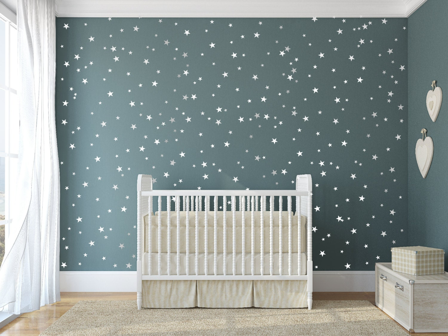 Vinyl star decals 148 silver stars star wall decal art zoom amipublicfo Gallery