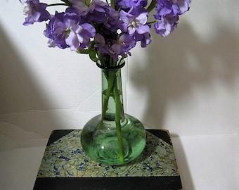 Vintage Hand Blown Green Glass Vase - Hand Blown Green Glass Vase - Long Necked Hand Blown Green Glass Vase