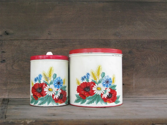 Items similar to vintage red canisters wilendur red poppy for Kitchen decor items