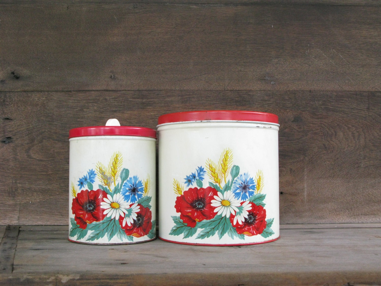 vintage red canisters wilendur red poppy kitchen decor by