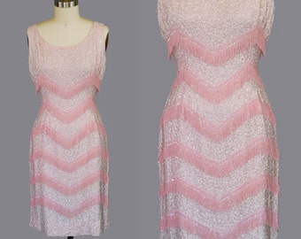 Vintage 60s Wiggle Dress Pink Beaded Fringe Sequins M