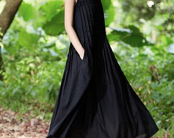 Black Maxi Dress, Black Linen Dress, Black Dress, Long Black Dress,, Loose fitting dress,black party dress, maxi prom dress, evening dress