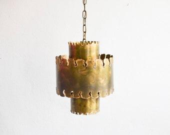 Vintage Holm-Sørensen pendant lamp brass lamp lighting brutalist 60s Danish Denmark