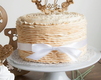 To The Moon and Back Rustic Floral Flourish Engraved Wooden Whimsical Wedding Party Cake Topper