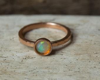 Opal Ring, Rose Gold Ring, Genuine Opal Ring, October Birthstone Ring, Stacking Ring, Ethiopian Opal Ring, Stackable Rings, Birthstone Rings