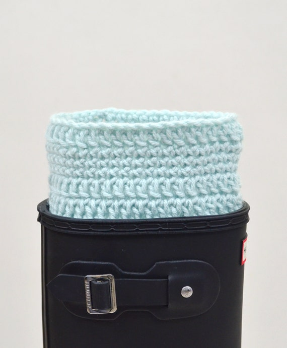 Boot warmers mint blue crochet rain boot liner sock cuffs toppers