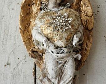 Cherub angel statue wall hanging w/ handmade heart and rhinestone crown distressed aged patina shabby cottage chic home decor anita spero