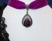 Purple Hot Pink Velvet Choker 15mm Velvet Choker Necklace Gothic Steampunk Cosplay Purple black Silver Casual Street Goth  (5)
