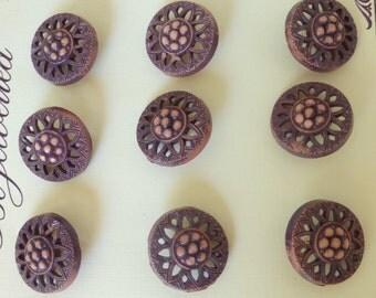 Vintage 1950's Pierced Floral Purple Plastic Buttons (Set of 9)