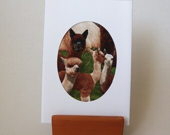 "ALPACA Fabric Card  6"" x 4"" with envelope. Blank for any occasion.  White LINEN textured card. Brown Llama card"