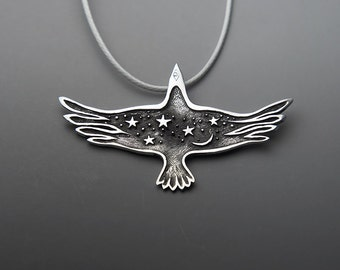 Night Raven Jewelry, Crow, Black Raven Necklace, Raven Pendant, Crow Necklace, Flying Bird Pendant, Spirit Animal Totem, Stars and Moon