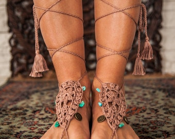 Yoga Barefoot Sandals, Crochet Foot accessory, Hippie Festival Wear Yoga Boho Anklet Feather jewelry Turquoise gemstones, Tassels Coins