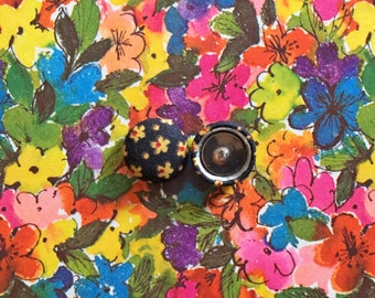 Fabric Covered Button Earrings / Wholesale Jewelry / Stud Earrings / Black and Yellow / Small Gifts /