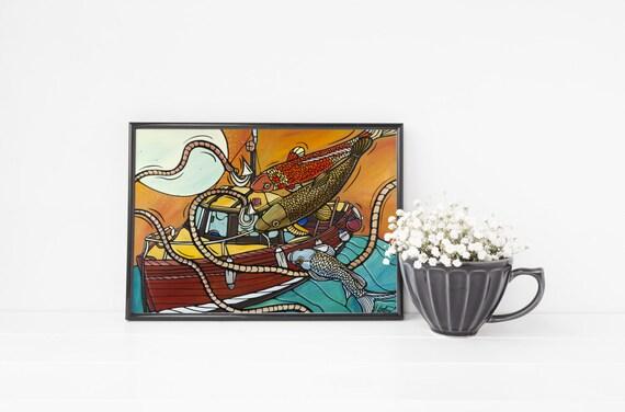 Yellow Beach Decor Koi Fish Fishing Art Print Fish Room