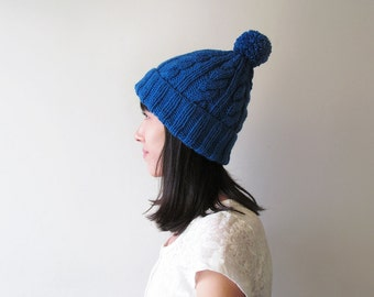 Cable Knit Hat in Blue, Hand Knit Beanie with Folded Brim, Womens Pom Pom hat, Winter Accessories, Wool Blend, Gift For Her, Made to Order