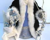 RESERVED FOR J: Father Christmas Doll Navy Blue & Periwinkle with Ivory Fox Fur Trim and Sleigh (One of a Kind Handmade Old World Santa)