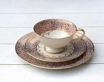 Pretty Vintage German Teacup and Saucer Trio Set - Ornate Gold and Soft Pink Border