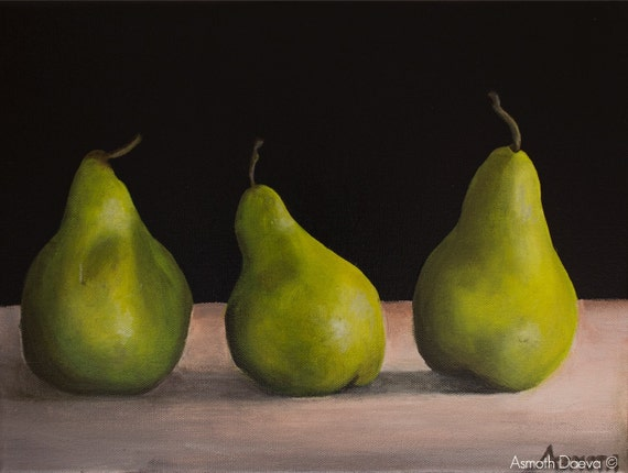 Still Life Fruit Painting On Canvas Pears Original By