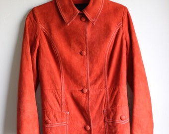 Far Out Orange Suede Jacket ||| Hippie Style ||| Soft Suede ||| Small ||| 1970s