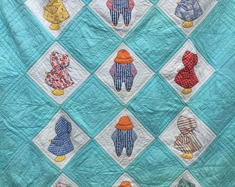 "Overall Sam and Sunbonnet Babies Quilt 76"" X 58"" Inches – 1970s Sunbonnet Sue Holly Hobby Quilt"