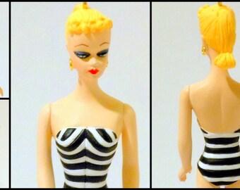 Vintage Barbie Ornament Zebra Stripe Swimsuit Hallmark @LootByLouise