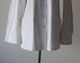 Vintage 1990s Rare Ann Demeulemeester Conservative Button Up Cotton White Blouse Size 40
