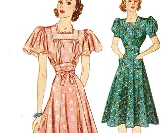 Simplicity 3303 Misses' Vintage 1930s Evening Dress with Flutter or Puff Sleeves in Two Lengths Sewing Pattern Sz 14