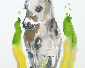 Original watercolor Donkey