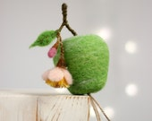 Needle Felted Green Apple With A Blossom - Easter Decor - Spring Decor - Cottage Decoration - Needle Felt Home Decoration - Easter Ornament