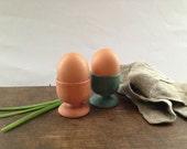 Vintage wooden Egg Cups Floral handpainted egg cups Set of 2 footed Egg Holders Breakfast Serving Shabby Easter table serving