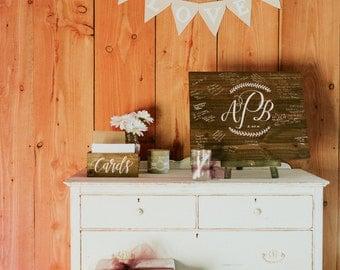Wooden Wedding Guest Book Sign, Rustic Wedding Signs, Alternative Guest Book, Monogrammed Guest Book, Wedding Keepsake