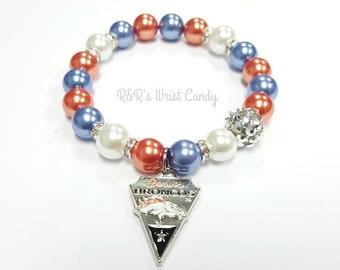Denver Broncos Beaded Bracelet,Football Bracelets, Team Spirit, Blue, White and Orange, Stretchy, Womens, Handmade Custom Jewelry