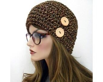 Beanie Hat, Winter Accessories, Brown Beanie, Beanie with Buttons, Brown Winter Beanie, Hats for Teens, Hats for Women, Brown Tweed Beanie