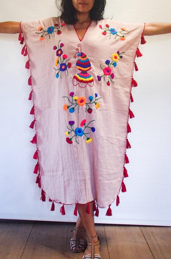 Salmon Colored Herringbone Blazer: Salmon Colored Hand Embroidered Woman's Festival Long